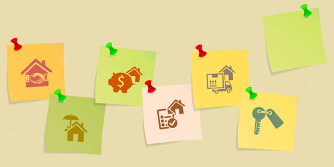 Real estate icon set sketched on post its