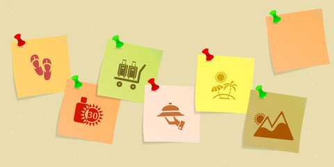 Holiday icon set sketched on post its