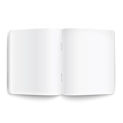 Blank opened copybook on white background.