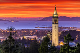 Fototapety Dramatic Sunset over San Francisco Bay and the Campanile