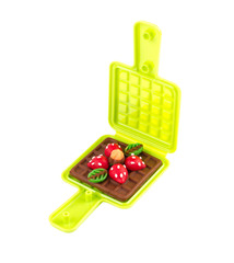 Waffle plasticine in waffle mold toy isolated on white