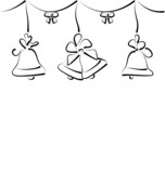 Christmas background with set outline bells