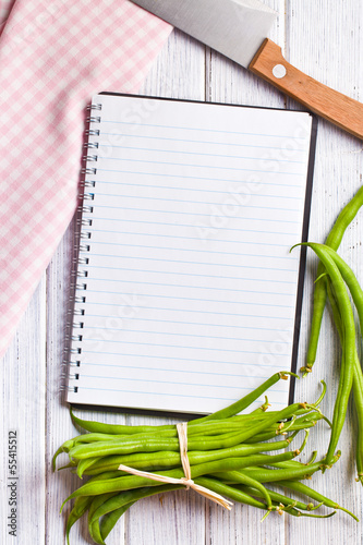 blank recipe book with green beans