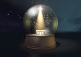 Snow Globe Nativity Scene Night
