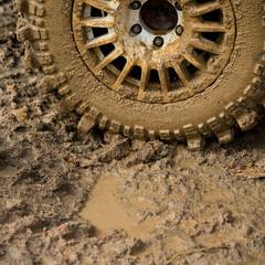 wheel in dirt.