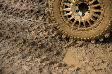 wheel in dirt.