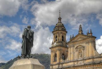 Bogota Cathedral Bolivar and Monserrate seen from Plaza Bolivar