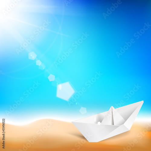 Beautiful background with a summer sea and ship