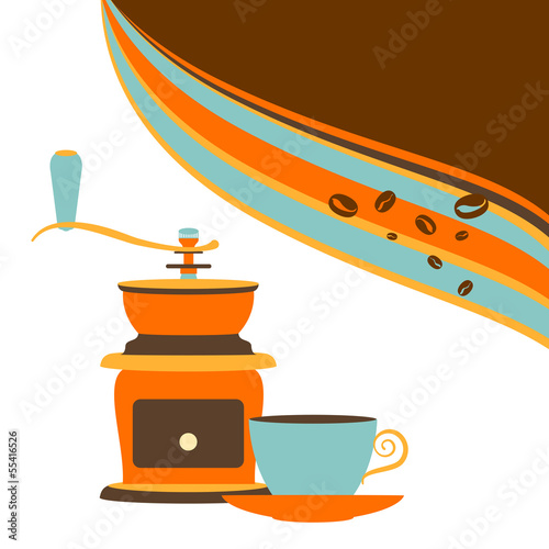 Retro offee and grinder on a white background