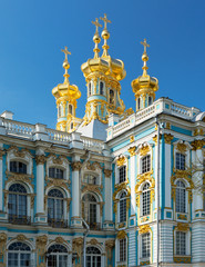 golden domes with crosses of catherine's palace in tsarkoie selo