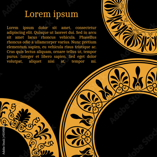 Invitation card with greek national pattern, vector