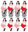 座る若い女性の挿絵カットイラスト(赤ピンク系セミロングヘアー)8パターン