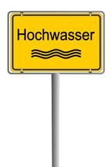 Ortsschild Hochwasser