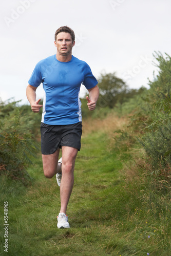 Man On Run In Countryside