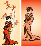 Autumn season japanese geisha decoration