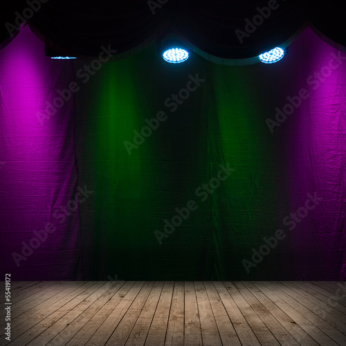 Dark scene interior with spotlights