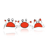 Set of funny crabs for your design