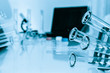 Test tubes closeup on blue background..medical glassware