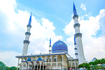 Blue Mosque viewed from front entrance in Shah Alam, Malaysia.