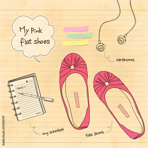 my pink flat shoes