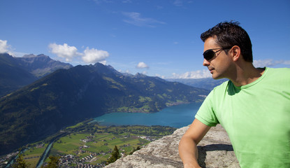 Man Looking the Interlaken Views