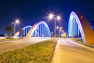 arch bridge with neon lamp