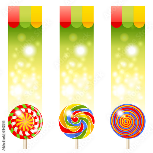 3 banners with lollipops