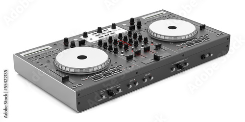 black dj mixer controller isolated on white background