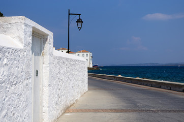 White wall in Spetses island, Greece