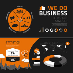 Business infographics elements, icons and symbols