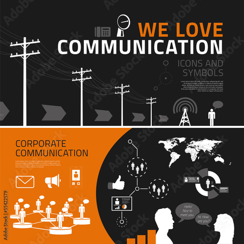 Communication infographics elements, icons and symbols