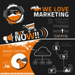 Marketing infographic elements, icons and symbols