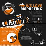 Marketing infographic elements, icons and symbols