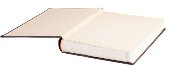 hardcover book opened on a white background