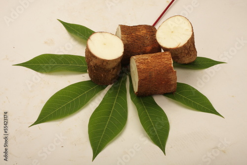 Sliced raw Tapioca,Cassava on tapioca leaf