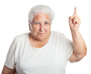 elder women pointing up on a white background
