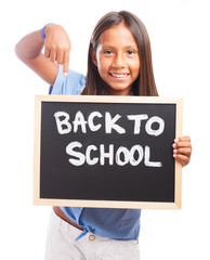 girl holding a chalkboard on a white background