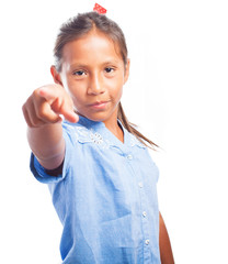 girl with a ponytail pointing forward on a white background