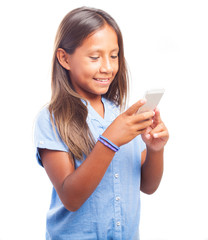 girl using a smartphone a white background