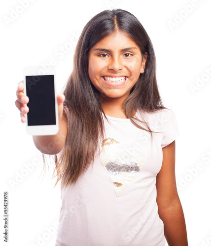 girl using smartphone on a white background