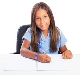 girl smiling doing homeworks on a white background