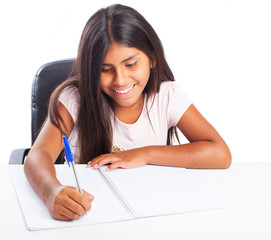 girl doing homework on a white background