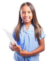 smiling girl holding a notebook on a white background