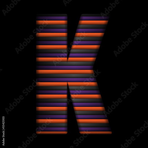 Halloween Alphabet Letters Stripe Black Orange Purple Vector