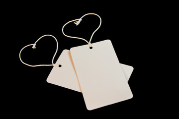 Two blank tag tied with string