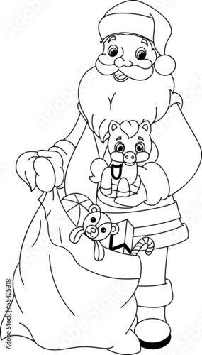 Santa Claus with gifts coloring page