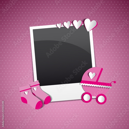 Cute template for baby's arrival announcement photo frame