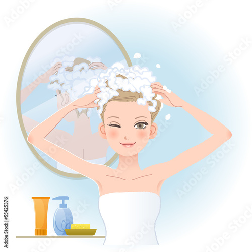 女性 洗髪 Pretty woman soaping her head