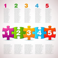 pone two three four five - Vector Puzzle progress icons