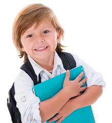 Happy kid going to school